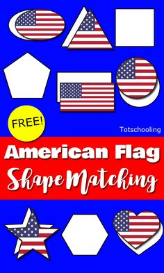 FREE printable American flag shape matching activity for toddlers and preschoolers to celebrate the of July or any other patriotic holiday such as Memorial Day. (holiday crafts of july) Toddlers And Preschoolers, Math Activities For Toddlers, Lesson Plans For Toddlers, Preschool Themes, Preschool Lessons, Toddler Preschool, Indoor Activities, Summer Activities, Toddler Class