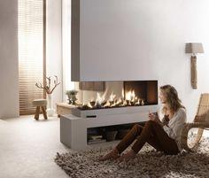 Element4 Lucius Roomdivider 2-3 glas gesloten inbouw gashaard - Haard Vloer