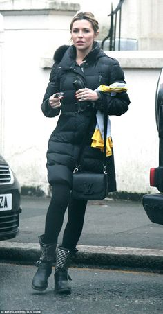 Out and about: The 29-year-old cut a dressed down figure on Saturday as she stepped out in...