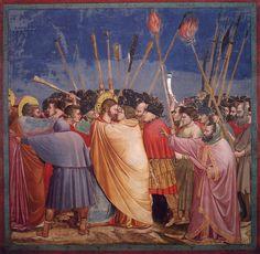GIOTTO (uczeń Cimabuego) trecento, szkoła florencka, freski w kaplicy Scrovegnich w Padwie. Pojmanie. Surowa wyniosła powaga. Wyrażenie uczuć, akcji poprzez gest.