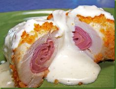 Chicken Cordon Bleu with pork rinds and a yummy looking sauce