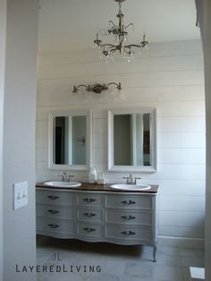 LayeredLivingHome, Masterbath Makeover, Vintage Dresser turned vanity, Clawfoot tube, Planked wall, Subway tile, Hinkley Lighting, Revere Pewter, BM Paint, Swiss coffee Behr