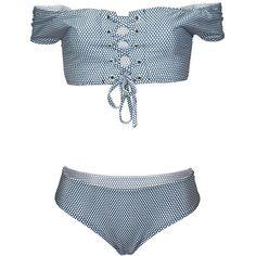 Hot Polka Dot Lace-Up Off Shoulder Bikini ($27) ❤ liked on Polyvore featuring swimwear, bikinis, swimsuits, lace swimsuit, swimsuits bikini, lace up swimsuit, lace up bathing suit and off-the-shoulder bathing suits