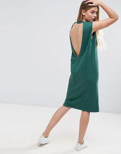 5b5b42fc6 ASOS Midi Sleeveless T-Shirt Dress with V Back - Shop for women s Dress -  Forest green