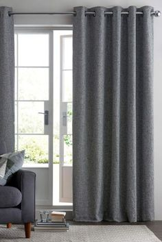 Buy Charcoal Bouclé Blend Eyelet Curtains from the Next UK online shop