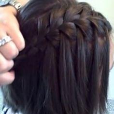 Waterfall braid. Good for long & short hair & totally cute.