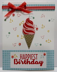 Stampin' Up Birthday Card created by Lynn Gauthier using SU's new Tasty Treats DSP, Cool Treats Stamp Set, Frozen Treats Framelits Dies and Layering Ovals Framelits Dies. Go to http://lynnslocker.blogspot.com/2016/12/stampin-up-2017-occasions-sneak-peek.html to see how this card was made.