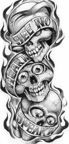 See Hear Speak No Evil Skulls picture Más Evil Tattoos, Skull Tattoos, Body Art Tattoos, Hand Tattoos, Sleeve Tattoos, Evil Skull Tattoo, Tattoo Design Drawings, Skull Tattoo Design, Tattoo Sketches