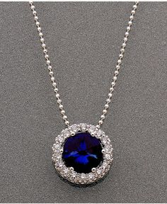 CRISLU Necklace, Platinum over Sterling Silver Blue Corundum (2 ct. t.w.) and Cubic Zirconia (3/4 ct. t.w.) Pendant on shopstyle.com