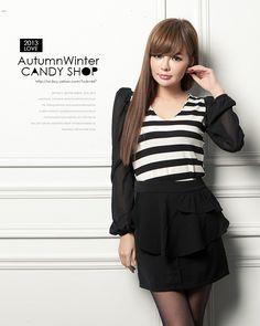 Stripe blouse - 73722  USD $9.40