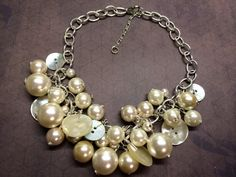 Vintage White Buttons & Pearls by BornAgainButtons on Etsy
