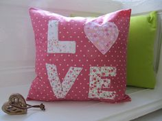 Love Cushion Pink and White Polka Dot Pillow by LilyLovesShopping