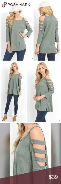 PREORDER Olive thermal strappy sleeve tunic! -Solid, thermal three quarter sleeve top with strappy open shoulder. Unlined. Non-sheer. Lightweight. Tops Tunics