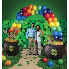 This rainbow balloon arch is great for St. Patrick's Day!
