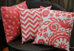 Coral Trio Pillow Covers by KelsCozyCorner on Etsy