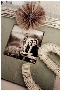 Painted picture frame, decorate with twine and scrapbooking paper