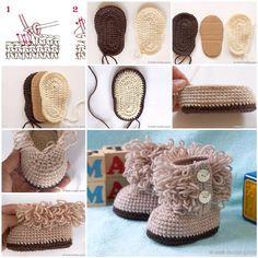 Para los bebes botas tejidas