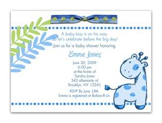 Don't know what baby is yet but still cute ... Baby Giraffe Baby Shower Invitations For Boys