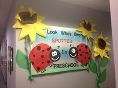 This Look Who's Been Spotted In Preschool! - Back-To-School Display is just one of our many bulletin board ideas. We have thousands of fun and unique teaching ideas that are great for the classroom and at home! Ladybug Bulletin Boards, Christian Bulletin Boards, Kindergarten Bulletin Boards, Back To School Bulletin Boards, Classroom Bulletin Boards, Classroom Crafts, Classroom Themes, Sunflower Bulletin Board, Classroom Displays