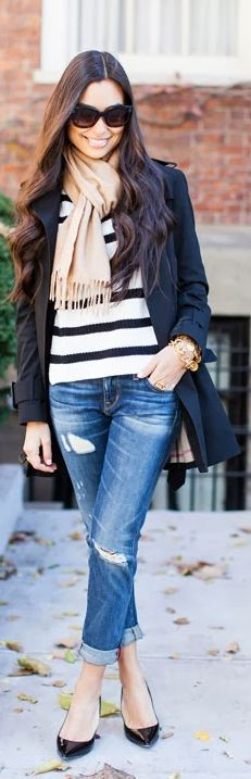 Fashionista: Black and White Stripes Sweater and Jean