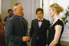 "Ed Westwick as Chuck Bass, Kelly Rutherford as Lily van der Woodsen and Robert John Burke as Bart Bass ""Woman on the Verge"""