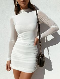 just quella Women's Bodycon Dress White Long Sleeve Sexy Mesh Pencil Evening Party Dresses Mode Outfits, Fashion Outfits, Womens Fashion, Fashion Tips, Fashion Clothes, Fashion Fashion, Fashion Ideas, Skull Fashion, Teen Outfits