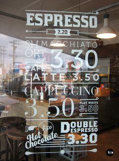 coffee menu decal, window decal, gauge espresso, cafe signage, by caramel creative