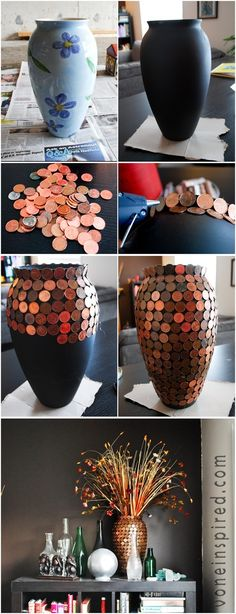 I really love the look of this! Pennies on an old vase.