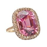 Pink Tourmaline & Cognac Diamond Cocktail Ring ❤