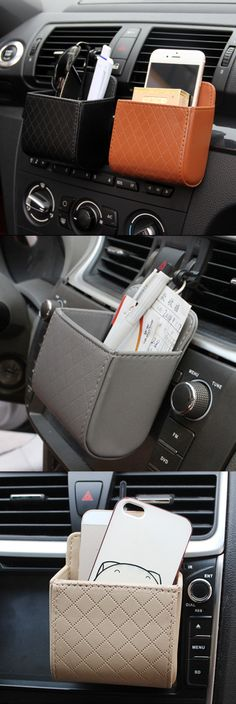 US$4.28   Auto Air Vent Car Storage Bag Multi-functional Pu Phone Bag Ditty Bag