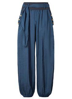 BAISHENGGT-Mujer Pantalones Holgados de Algodón con Cintu...…