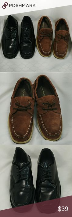 Sperry Top Sider Bundle Sperry shoes are brown suede in good condition. State street black leather dress shoes also in excellent condition. Both size 6. Sperry Shoes Dress Shoes