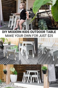 This KidKraft-inspired modern outdoor kids table build easily replicates the popular modern kids furniture style fur under $25 #buildplans #kidsfurniture #diy #woodworking Modern Kids Furniture, Furniture Styles, Diy Furniture Projects, Handmade Furniture, Outdoor Furniture Sets, Handmade Wooden Toys, Arts And Crafts Projects, Diy Projects, Kids Outdoor Table