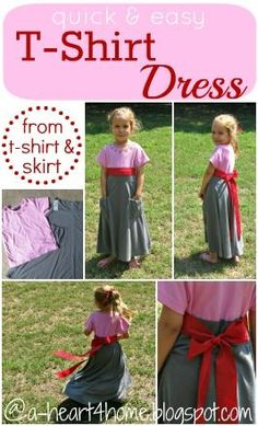 Quick & Easy Dress from a T-Shirt & Skirt {Finished Friday #48} Come link up you projects, too!: