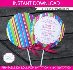 DIY Lollipop Invitation Template - fun invitation for your Candyland Birthday Party via SIMONEmadeit.com