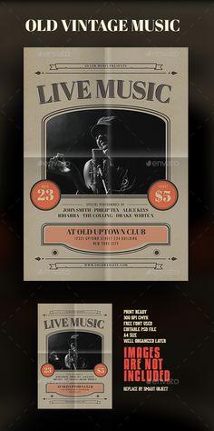 Old VIntage Music Flyer Template PSD. Download here: https://graphicriver.net/item/old-vintage-music-flyer/17159921?ref=ksioks