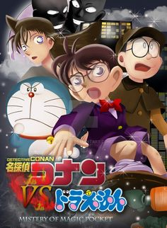 From my oldest favourite anime character.Painting Detective Conan VS Doraemon use photoshop Detective Conan = maybe ± 10 hours Nobita = ± 3 Hours, Doraemon = ± 1 hours and Ran Mouri = ± 3 hours, . Detektif Conan, Doraemon Wallpapers, Kudo Shinichi, Anime Crossover, Case Closed, Magic Kaito, Detective, Anime Characters, Photoshop