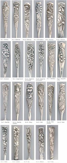 "Shiebler sterling silver multi-motif ""Flora"" pattern, available in at least 17 motifs, plus variations. This is one of the earliest art nouveau patterns, patented in 1889. (SMP Silver Salon Forums . . #flatware . . #cutlery"