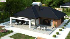 House Layout Plans, Modern House Plans, House Layouts, Modern House Design, Rural House, House Front, Bungalow, Gazebo, Sweet Home