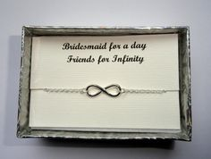 Sterling silver Infinity bracelet Bridesmaid gift Friendship