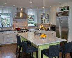 Kitchen, Awesome Classic Kitchen Cabinet With White Granite Island And Countertop Design Ideas: Kitchen Design Ideas With Granite Countertops