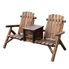Outdoor Patio 2 person Double Adirondack Wood Bench Chair Loveseat W/Ice Bucket
