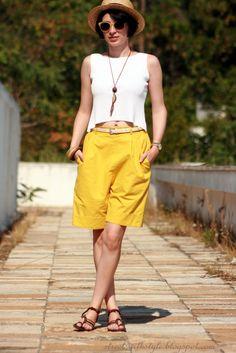 yellow bermuda street style