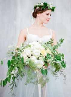 Romantic bridal bouquet with ribbons | Lissa Ryan Photography | see more on: http://burnettsboards.com/2015/10/ballet-boudoir/