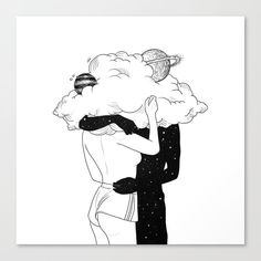 Illustration Art Drawing, Art Drawings Sketches, Sketches Of Love, Muhammed Salah, Arte Peculiar, Cloud Drawing, Romance Art, Witch Art, Couple Art
