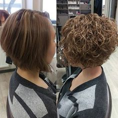 Before and after perm on inverted bob style. # Before and after perm on inverted bob style. # Before and after perm on inverted bob style. Curly Hair Styles, Curly Hair Cuts, Wavy Hair, Short Hair Cuts, Perms For Short Hair, Short Permed Hair Before And After, Spiral Perm Short Hair, Perms Before And After, Short Hair Perm Styles