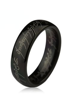 This lotr wedding band from our line of Comfort Fit tungsten carbide rings is in black color with a logo The Lord of The Ring laser engraved on the outside. This sleek style has a domed polished profile and comes 6mm and 8mm as well, for couples who prefer matching sets. This lotr the one ring can be worn as a Wedding Band or Promise Ring by men or women.