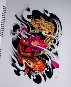 Discover recipes, home ideas, style inspiration and other ideas to try. Koi Tattoo Sleeve, Forearm Sleeve Tattoos, Japanese Sleeve Tattoos, Calf Tattoo, Leg Tattoos, Japan Tattoo Design, Koi Tattoo Design, Henna Tattoo Designs, Koi Dragon Tattoo