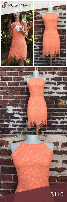 For Love & Lemons XS Orange Guava Lace Mini Dress You're looking at a beautiful dress by For Love & Lemons! Love the floral lace, open back, & scalloped hem.