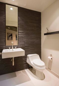 Skyline Flat in Rosslyn - Modern - Powder Room - dc metro - by FORMA Design Bathroom Design Software, New Bathroom Designs, Bathroom Layout, Modern Bathroom Design, Bathroom Interior Design, Bathroom Ideas, Modern Farmhouse Powder Room, Modern Powder Rooms, Modern Room
